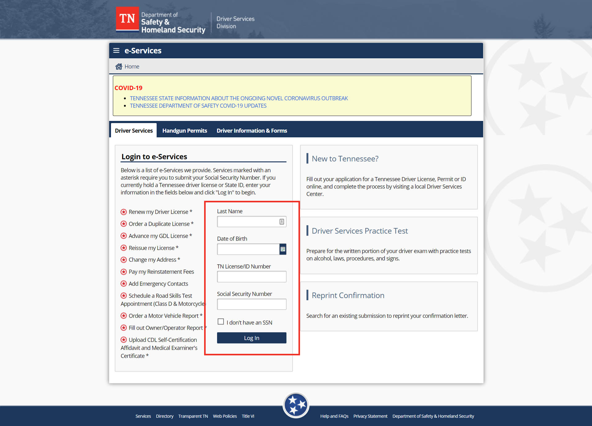 Fornt Pagee of TN Department of Safety & Homeland Security Website.